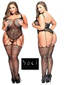 Baci Lingerie [ UK 16 - 22 ] Queen Size Black Strappy Style Open Bodystocking...